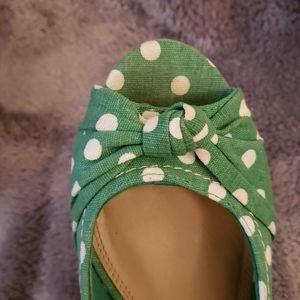 Green Polka Dot Espadrilles